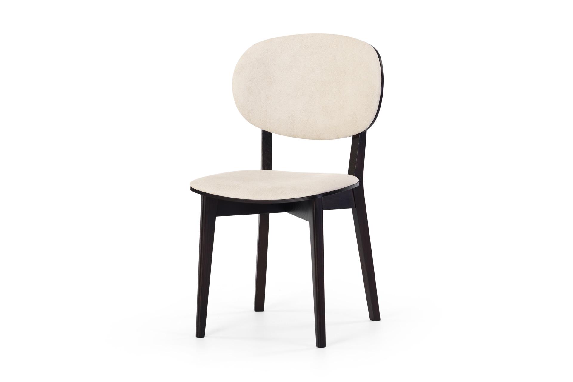 Черный кухонный стул 03Б с белой мягкой обивкой • OLEKSENKO Столы и Стулья •
