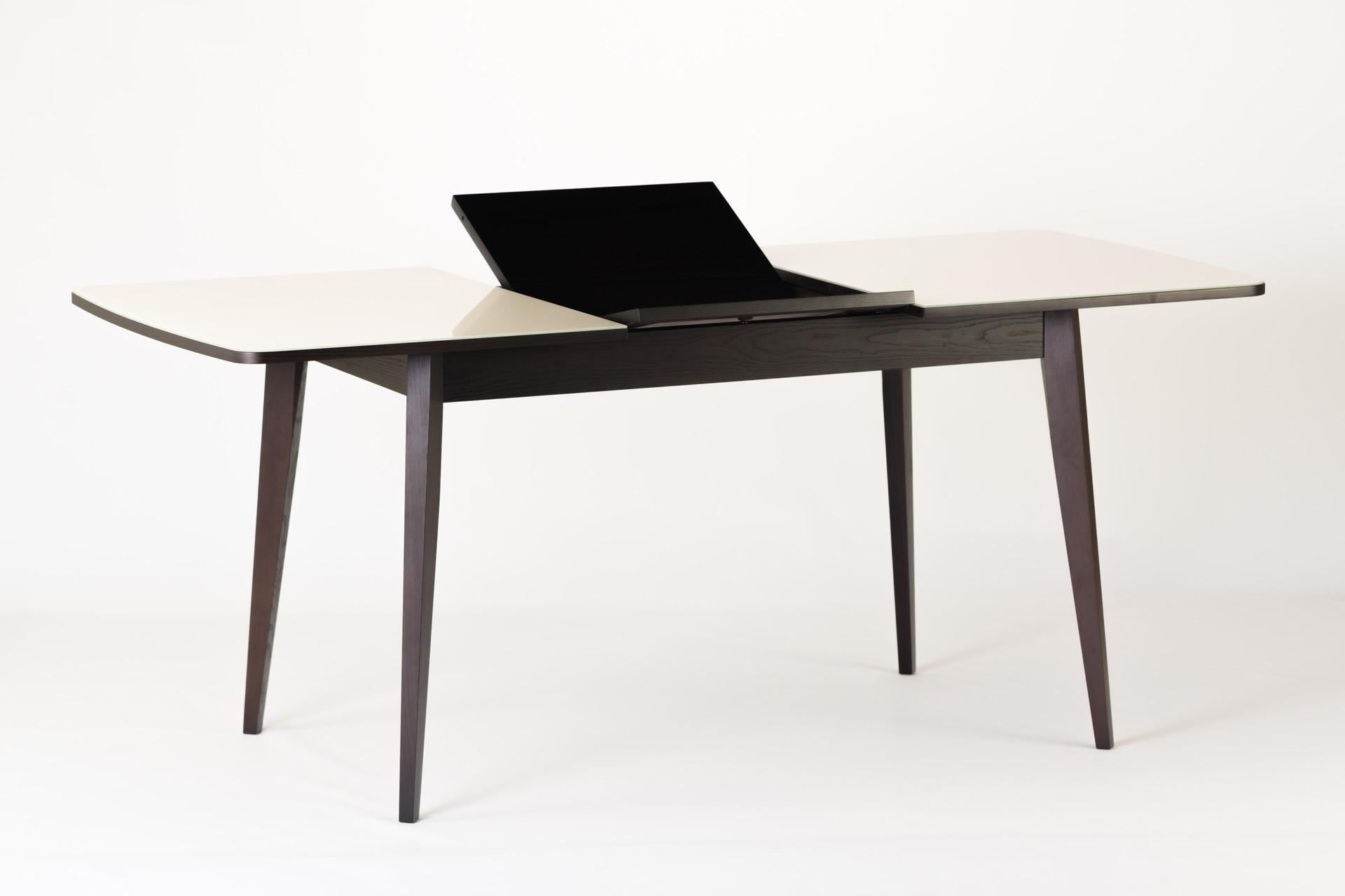 """Кухонный стол """"Турин"""" - прямоугольный, белая стеклянная столешница, черные ножки и царга (механизм раскладки)"""