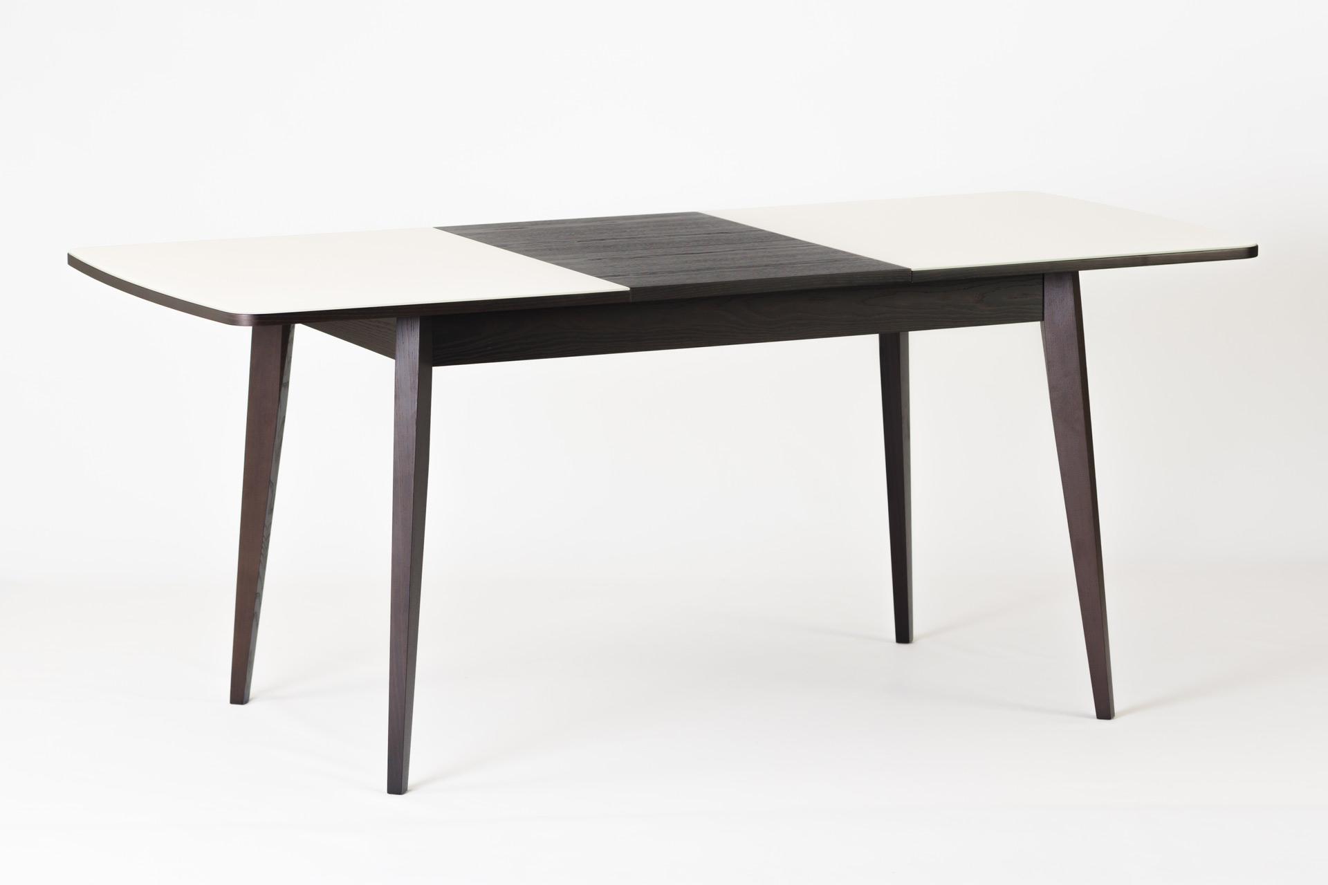 """Кухонный стол """"Турин"""" - прямоугольный, белая стеклянная столешница, черная вставка столешницы, черные ножки и царга"""