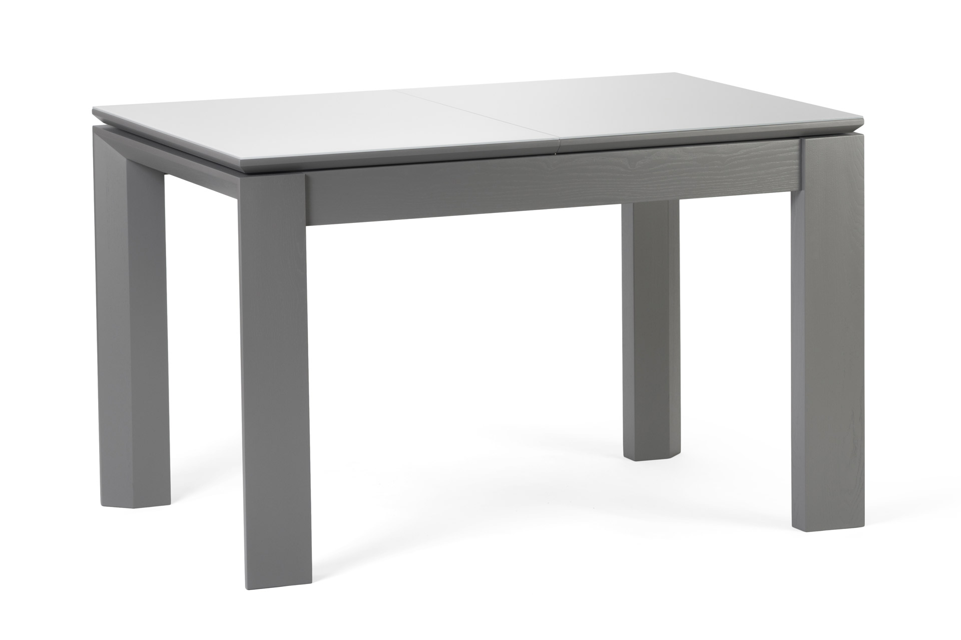 Кухонный стол Милан, из натурального дерева, с серыми ножками и белой прямоугольной столешницей со стеклянным покрытием