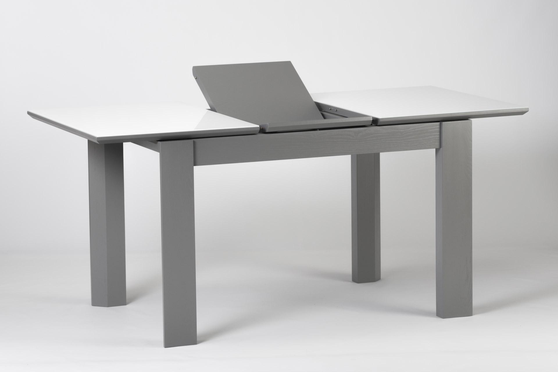 """Кухонный стол Милан, из натурального дерева, с серыми ножками и белой прямоугольной столешницей со стеклянным покрытием, механизм раскладки """"книжка"""""""