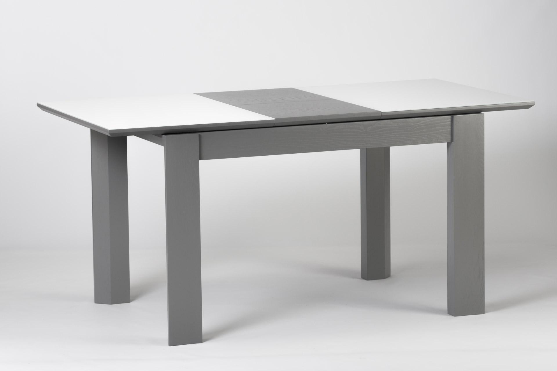 Кухонный стол Милан, из натурального дерева, с серыми ножками и белой прямоугольной столешницей со стеклянным покрытием, раскладной