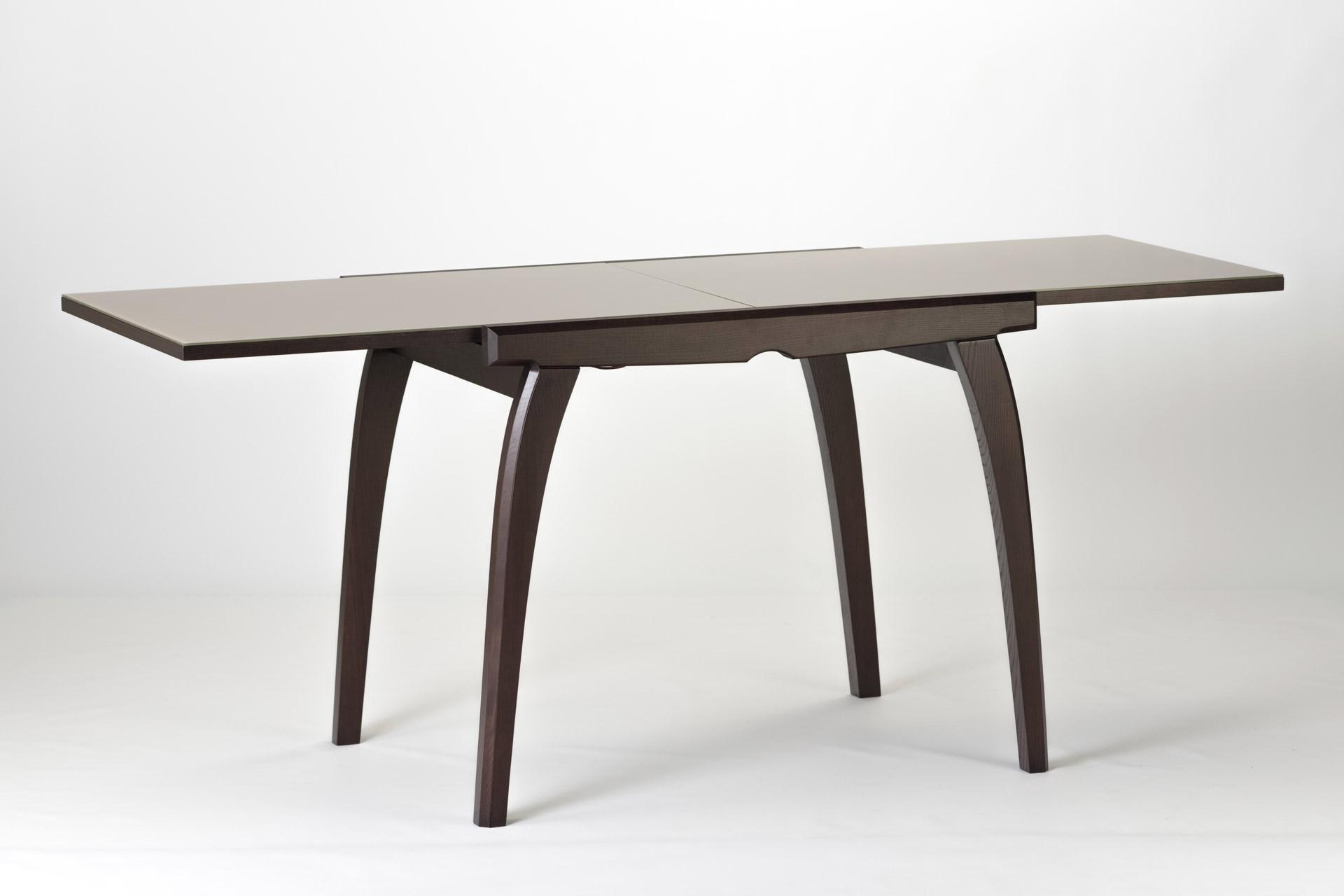 """Кухонный раскладной стол """"Фаворит - 02"""" с прямоугольной столешницей из стекла. Тонировка SE-7108 (разложенный)"""