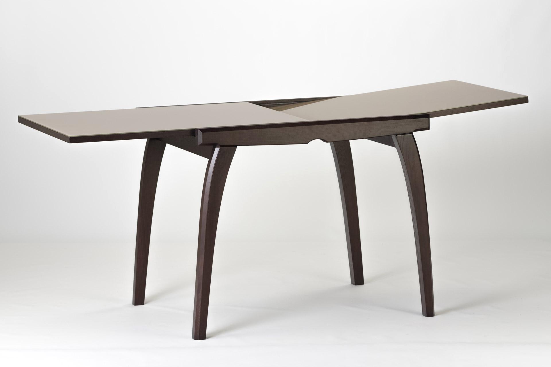 """Кухонный раскладной стол """"Фаворит - 02"""" с прямоугольной столешницей из стекла. Тонировка SE-7108 (механизм раскладки слайдер)"""