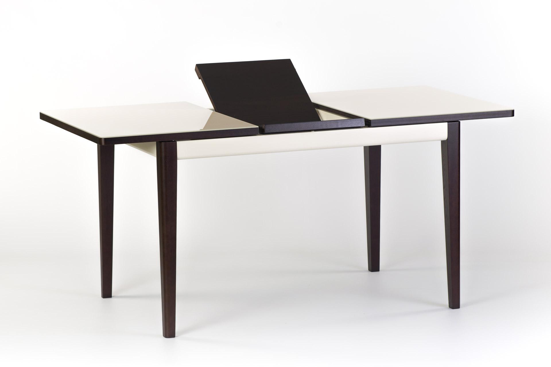 """Раскладной кухонный стол """"Фишер"""" - прямоугольный бежевая стеклянная столешница, черные ножки и царга. С механизмом раскладки столешницы"""