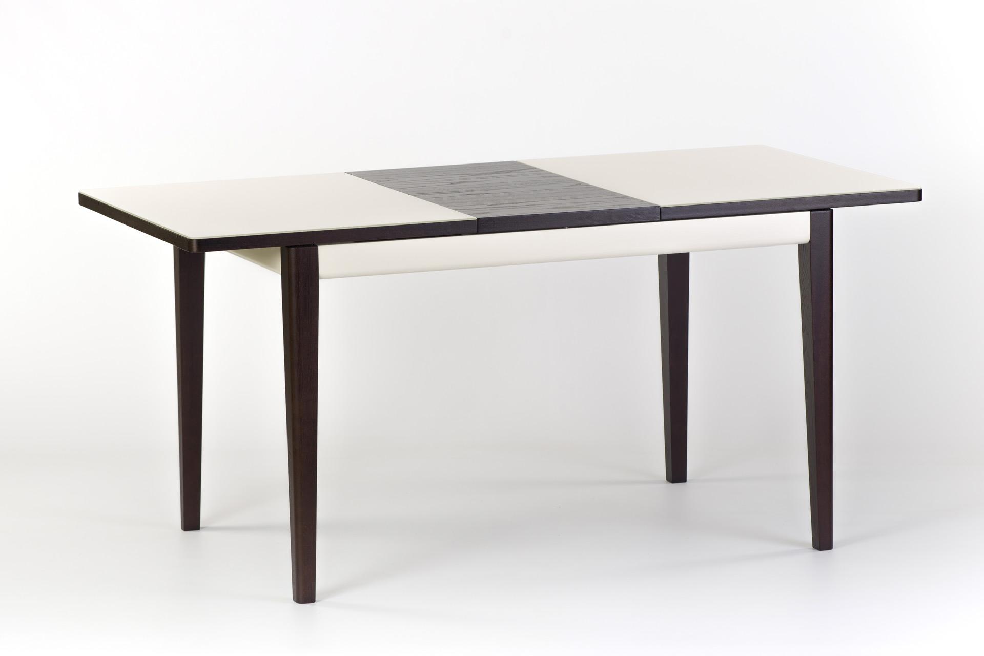 """Раскладной кухонный стол """"Фишер"""" - прямоугольный бежевая стеклянная столешница, черные ножки и царга. Разложенный"""