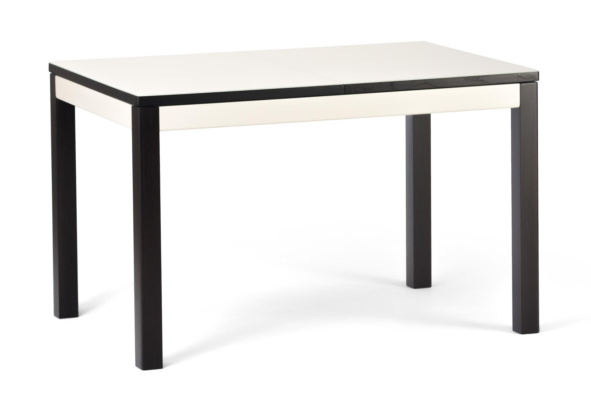 """Раскладной прямоугольный кухонный стол """"Фишер-обновленный"""" бежевая стеклянная столешница и черные ножки с твердого дерева"""