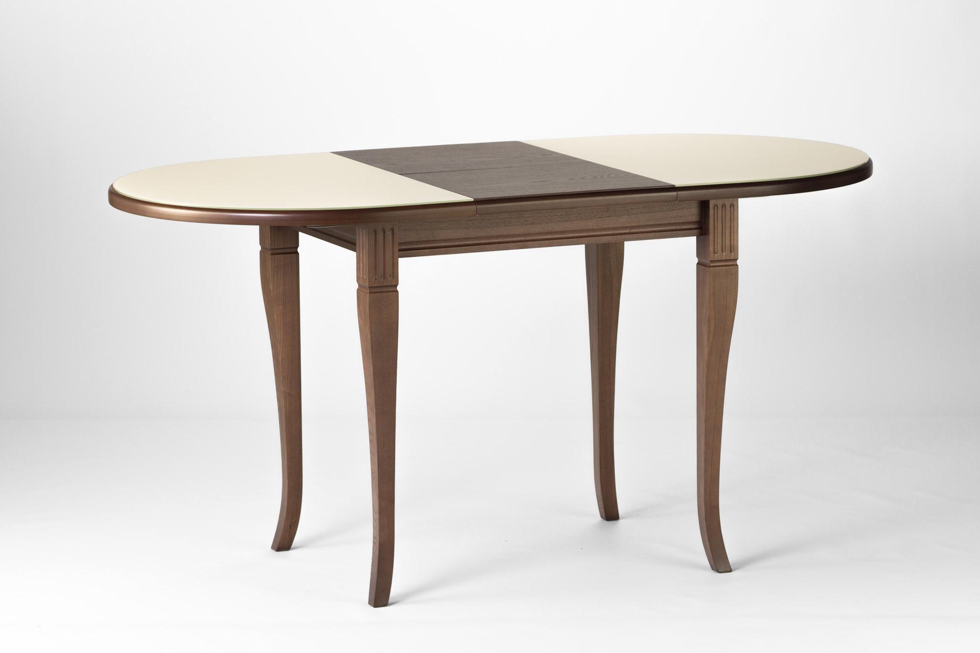 Овальный кухонный стол Кардинал , с деревянной столешницей бежевого цвета с раскладным механизмом, фото 2