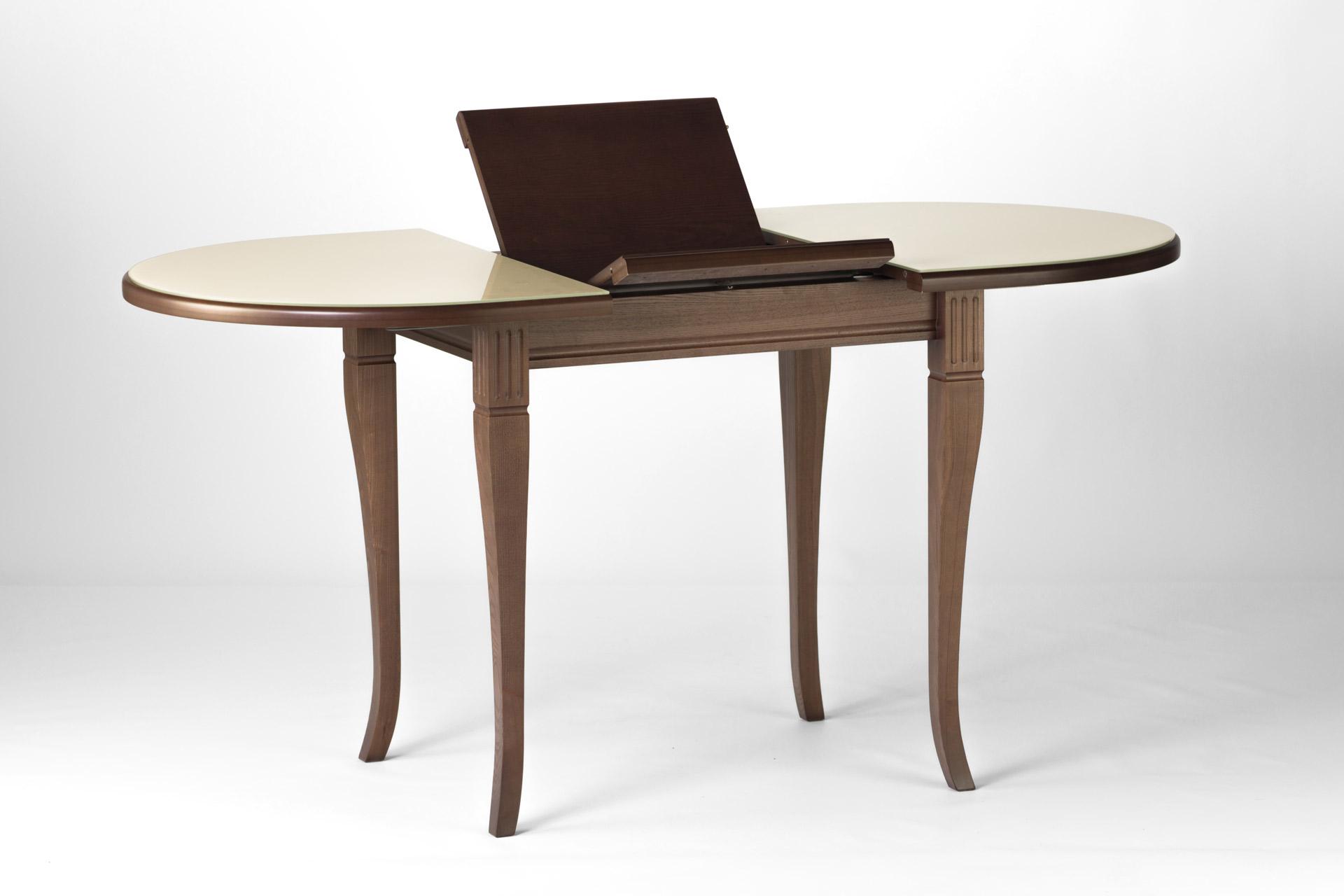 """Овальный кухонный стол Кардинал , с деревянной столешницей бежевого цвета с раскладным механизмом """"книжка"""""""