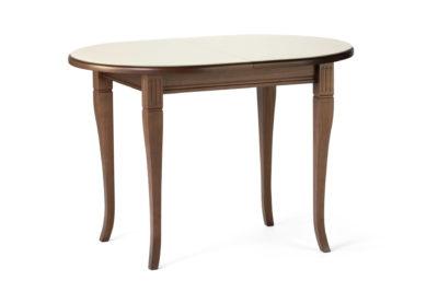 Овальный кухонный стол Кардинал , с деревянной столешницей бежевого цвета с раскладным механизмом