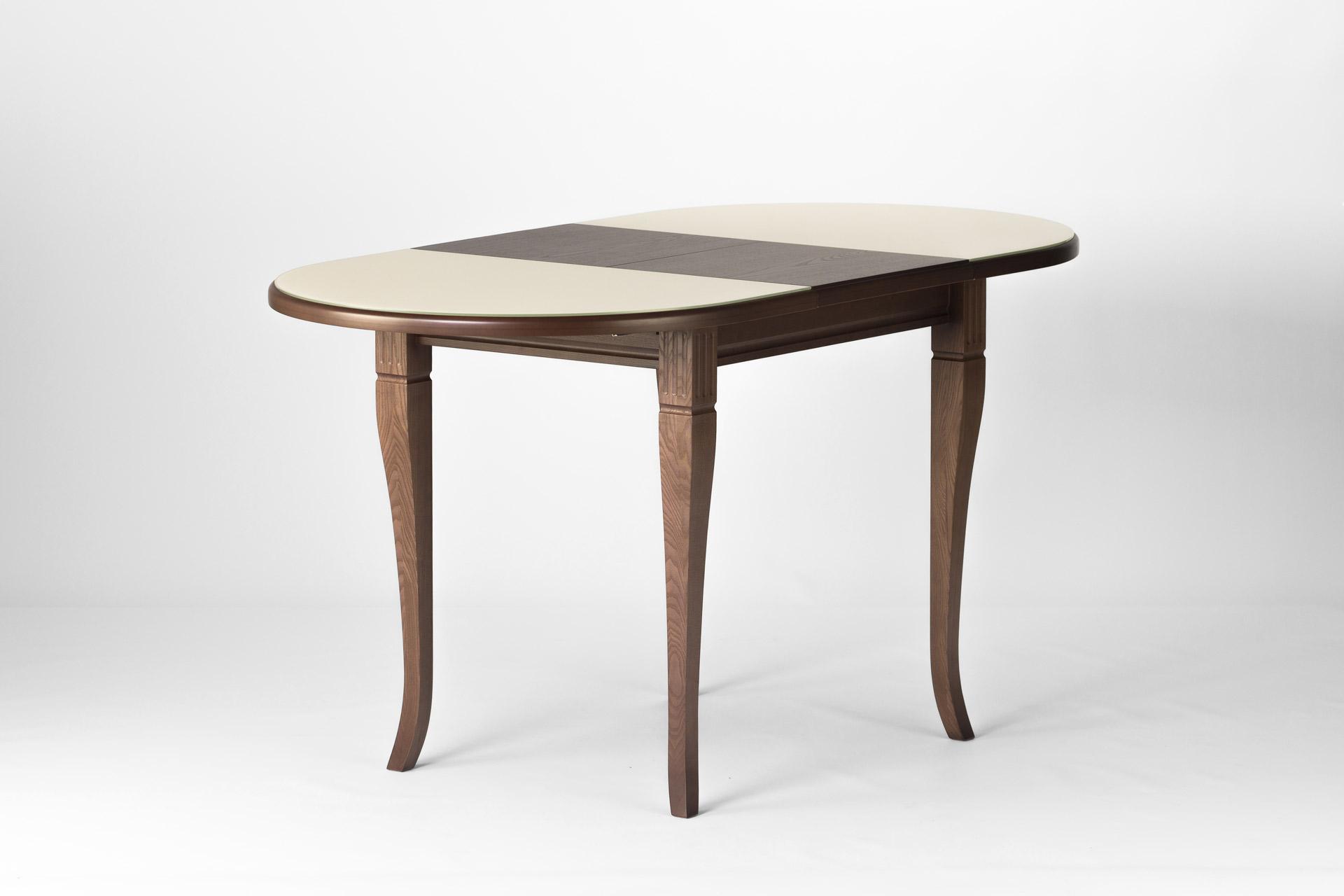 Овальный кухонный стол Кардинал , с деревянной столешницей бежевого цвета, разложенный