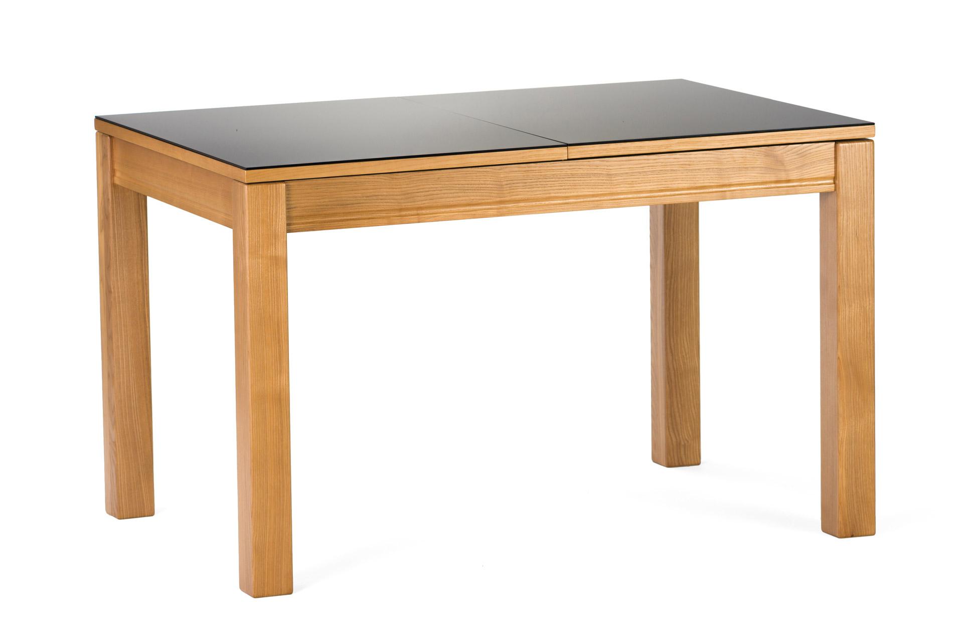 """Раскладной прямоугольный стол """"Неаполь"""" черная стеклянная столешница, ножки из твердого дерева тонированы, цвет SE-1403"""