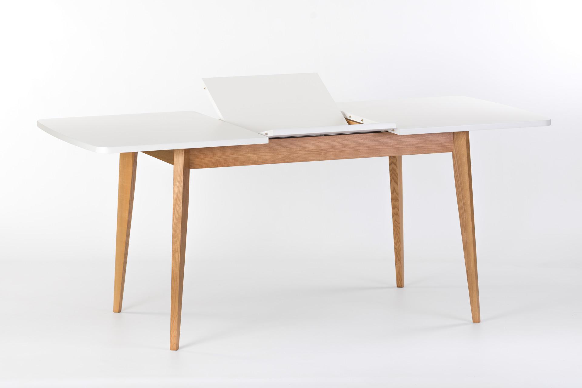 """Раскладной кухонный стол """"Турин"""" - прямоугольная белая столешница с механизмом раскладки, покрыта эмалью, ножки из твердого дерева покрыты эмалью, цвет SE-1403"""