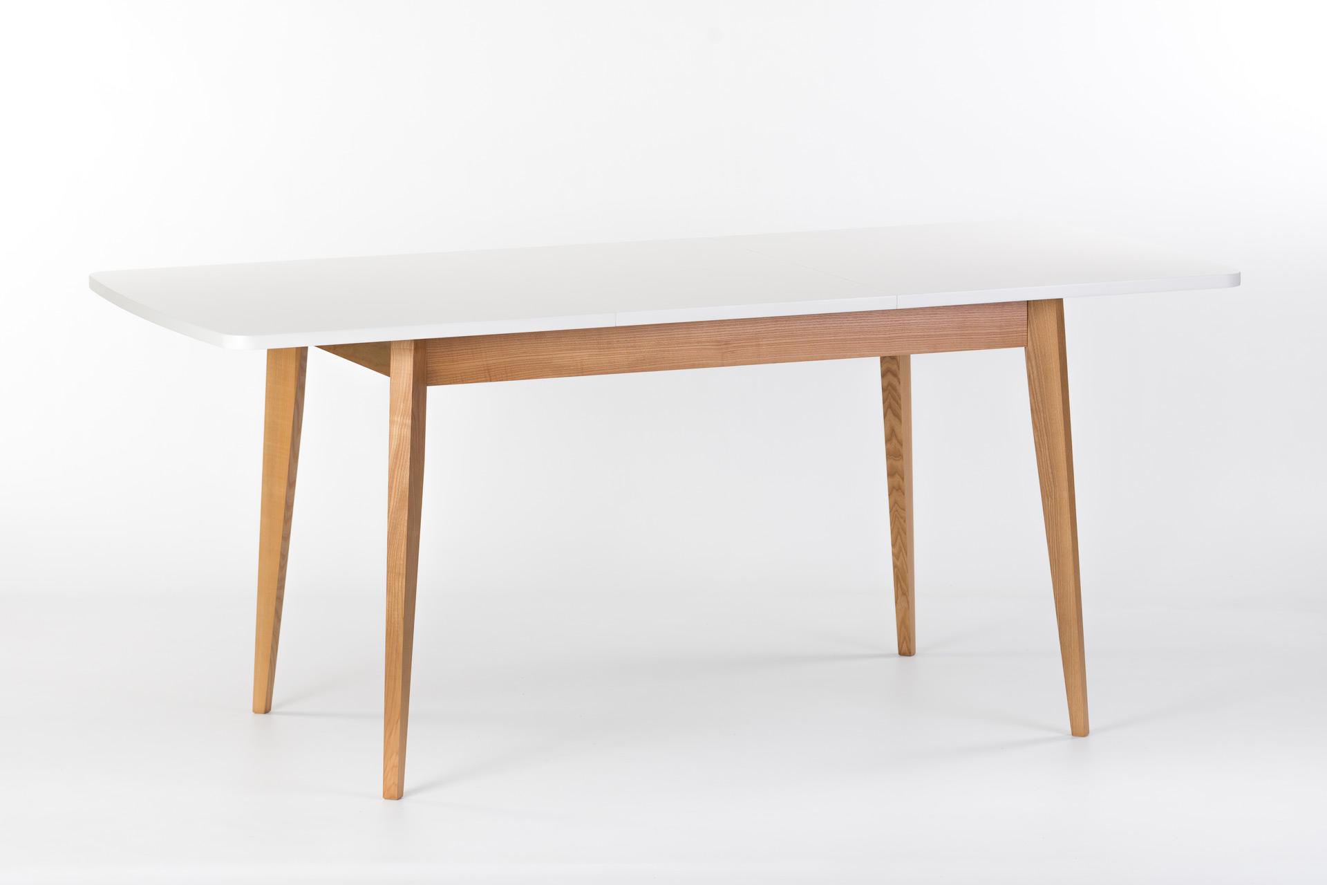 """Раскладной кухонный стол """"Турин"""" - прямоугольная белая столешница покрыта эмалью, ножки из твердого дерева покрыты эмалью, цвет SE-1403. Разложенный"""