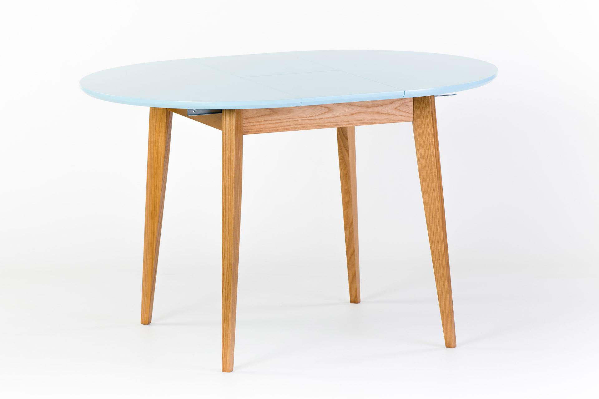 """Раскладной круглый стол """"Турин"""" - столешница покрыта голубой эмалью WCP277, ножки и царга тонированы SE-1403 - разложенный"""