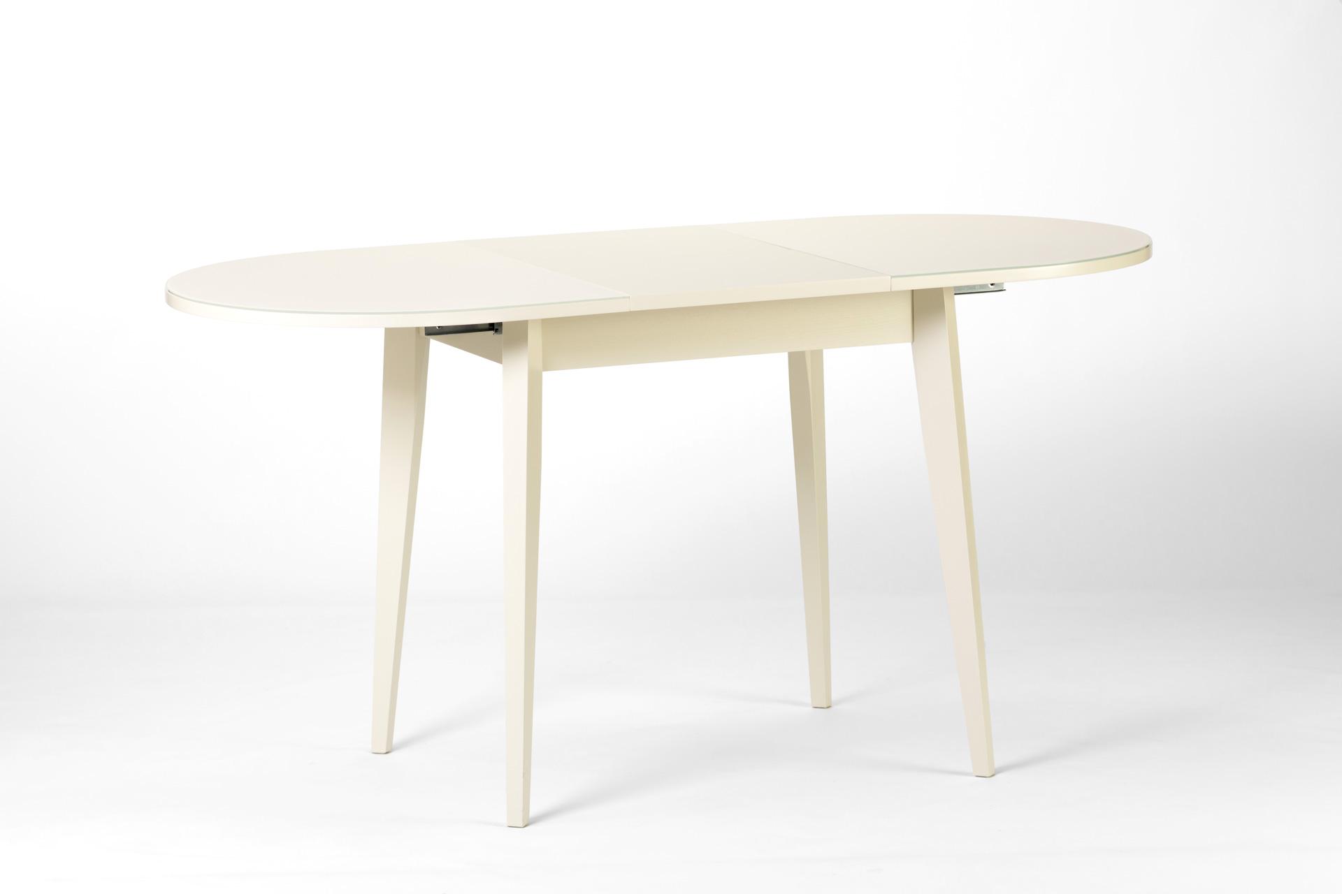 """Овальный кухонный стол """"Турин"""" с раскладной стеклянной столешницей (белый)"""
