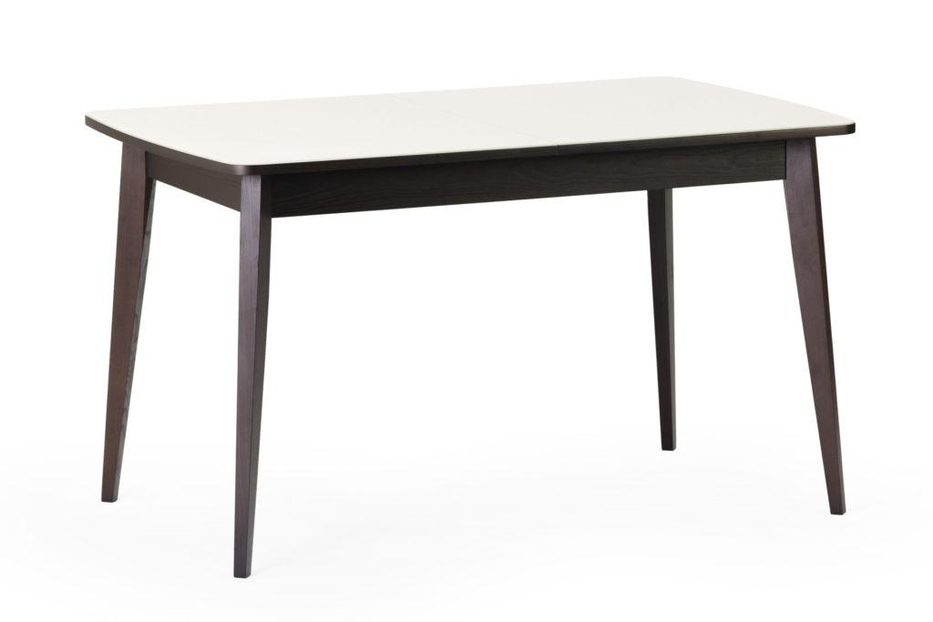 """Кухонний стіл """"Турін"""" - прямокутний - біла скляна стільниця, чорні ніжки та царга"""