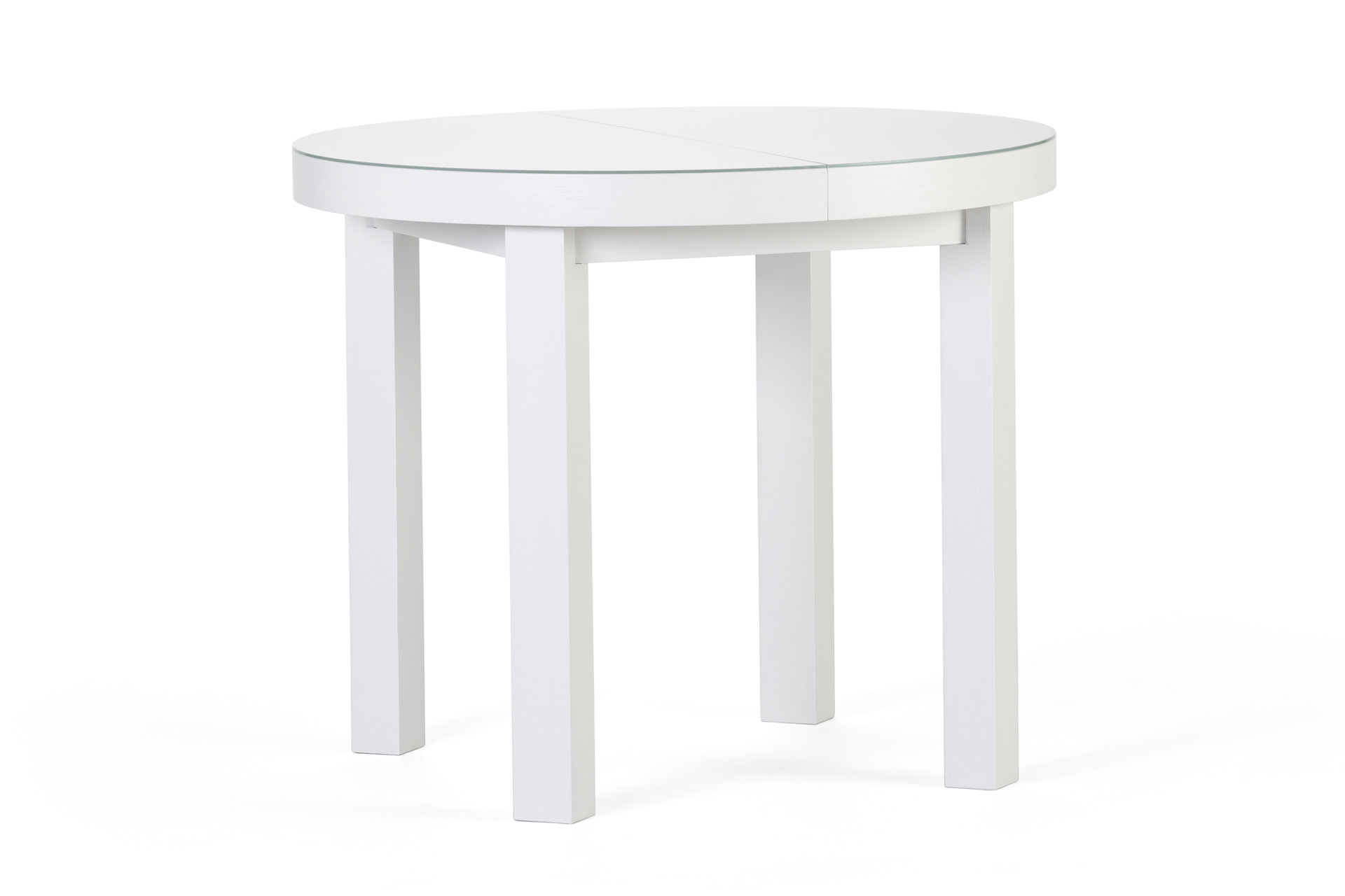 Круглый кухонный стол белого цвета, со стеклянным покрытием столешницы, квадратными ножками и возможностью раскладки