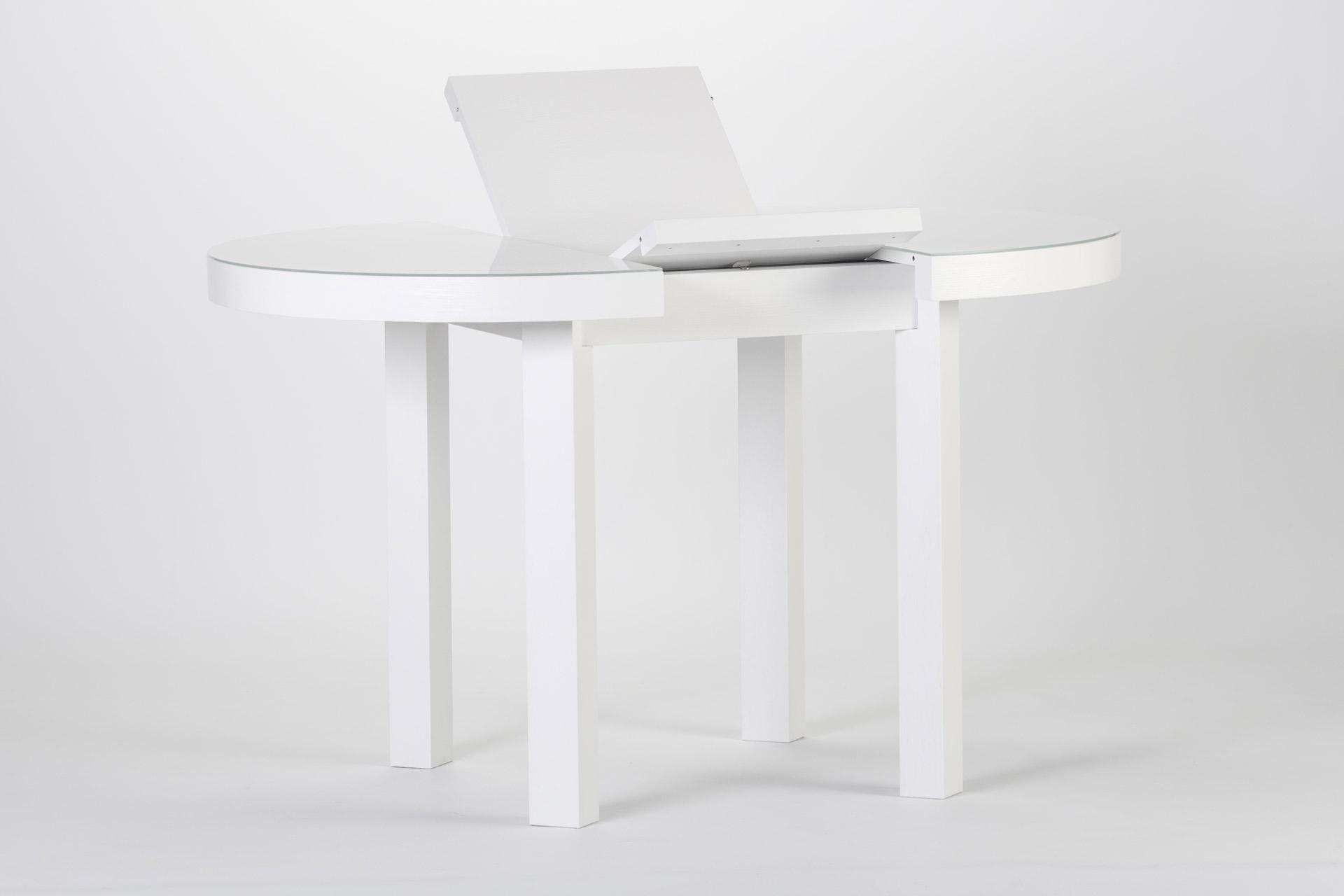 """Круглый кухонный стол белого цвета, со стеклянным покрытием столешницы, квадратными ножками и механизмом раскладки """"книжка"""""""