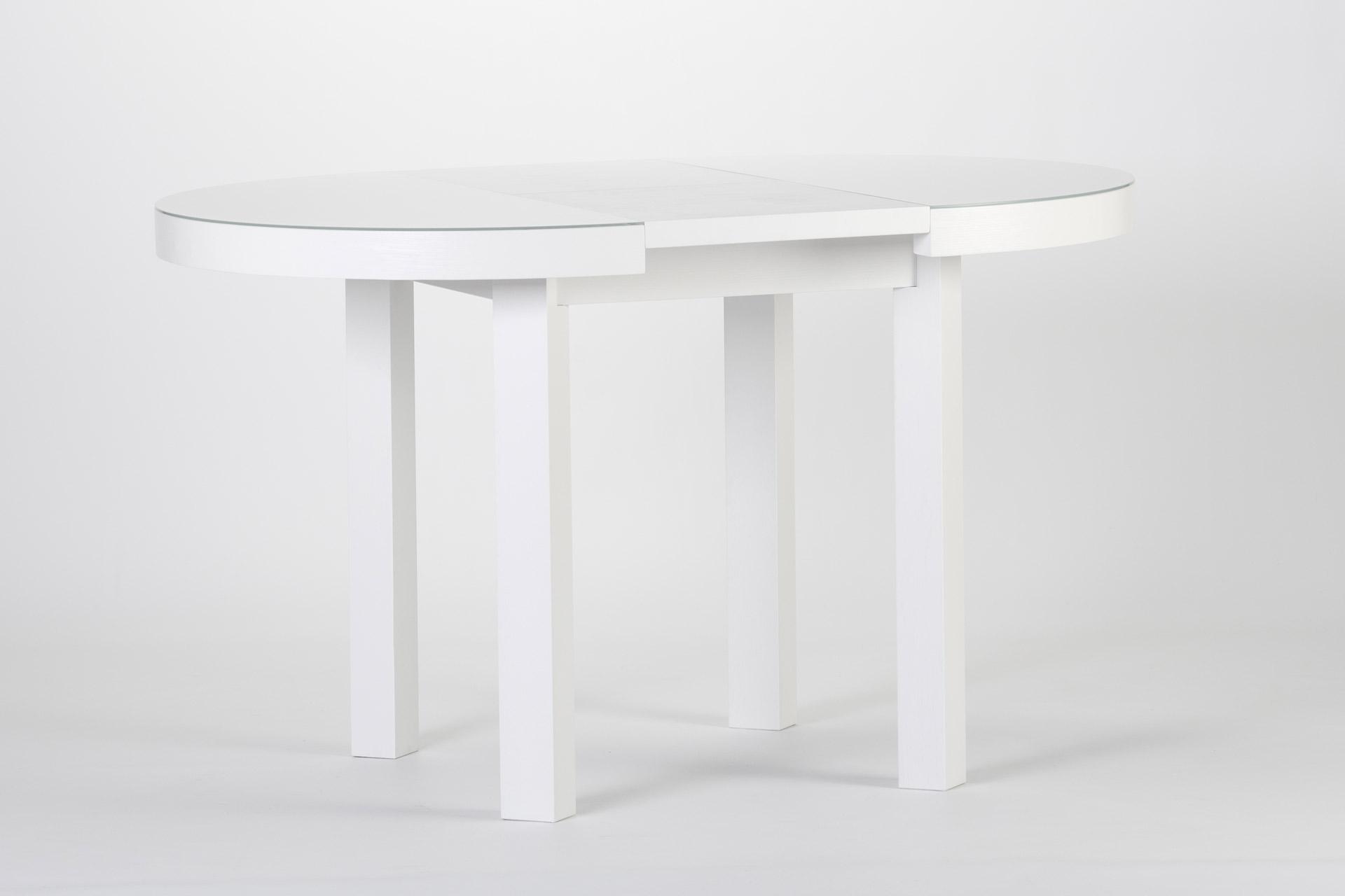 Круглый кухонный стол белого цвета, со стеклянным покрытием столешницы, квадратными ножками, раскладной