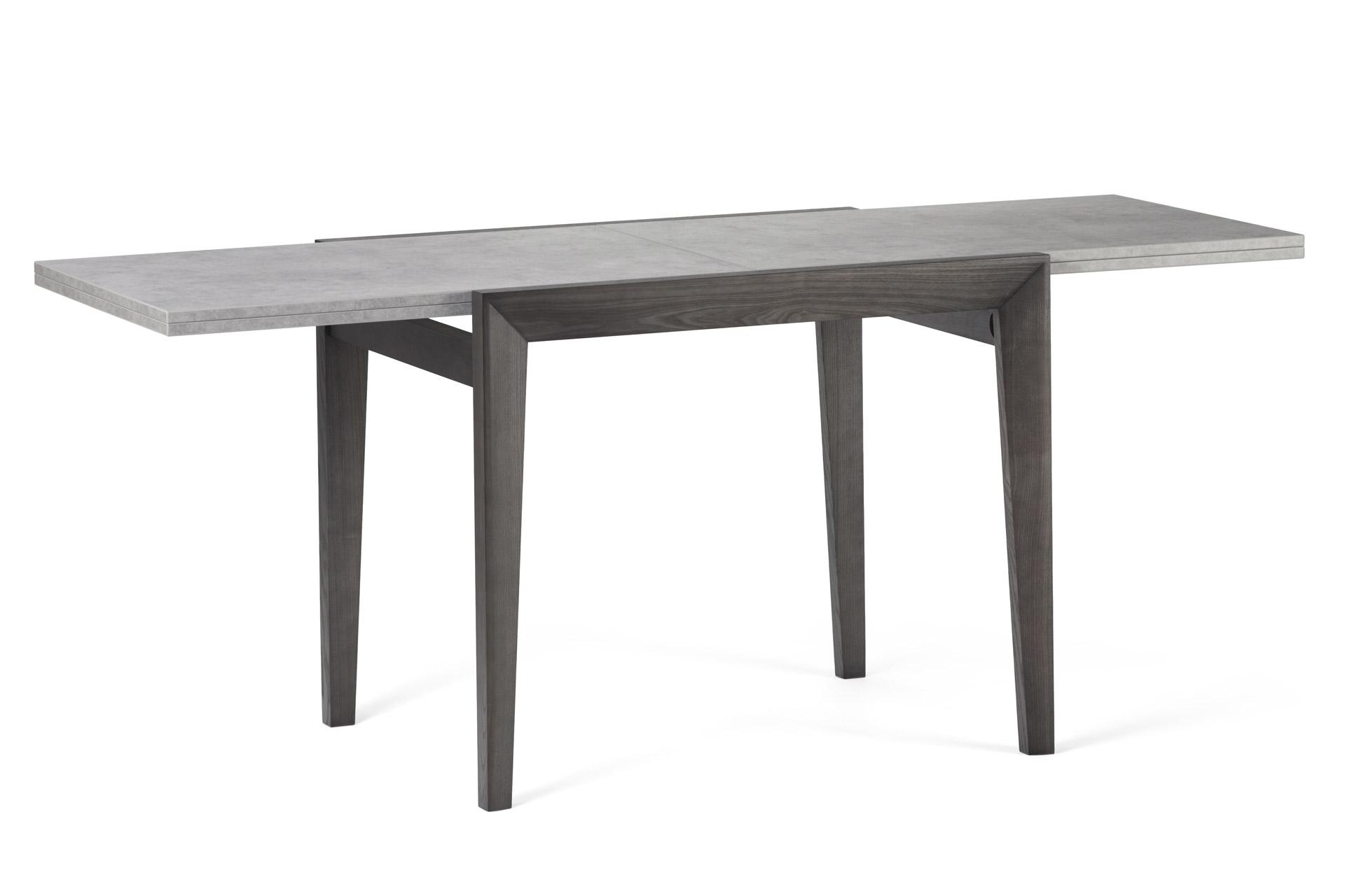Деревянный кухонный стол Фаворит, с черными ножками и серой шпонированой столешницей, разложенный