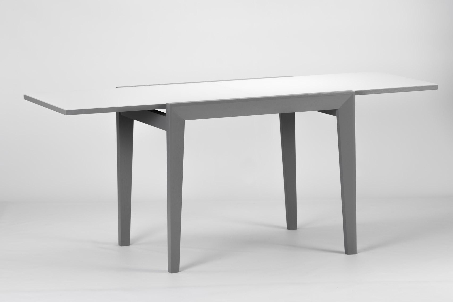 Деревянный кухонный стол Фаворит c белой стеклянной столешницей и серыми ножками раздвижной