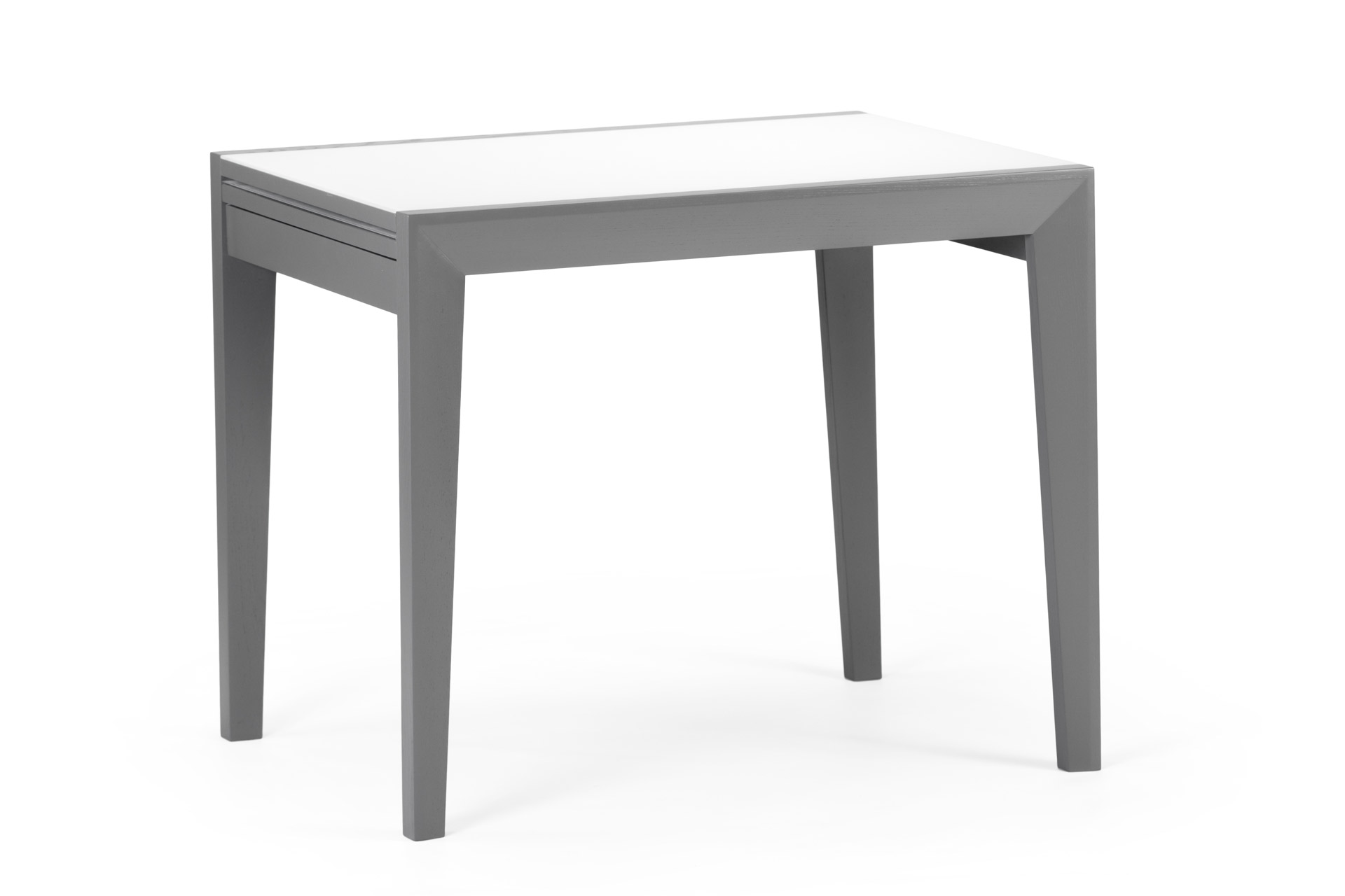 Деревянный кухонный стол Фаворит c белой стеклянной столешницей и серыми ножками, раздвижной фото 1