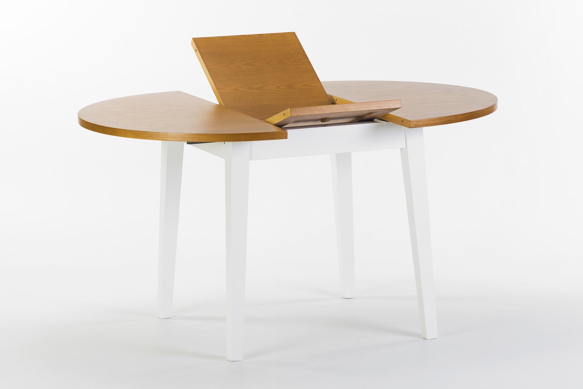 """Круглый кухонный стол """"Монтерей"""". Механизм раскладки столешницы, столешница покрыта шпоном ясеня, тонирована, цвет SE-7005. Вид с боку"""