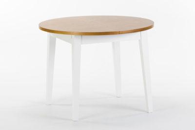 """Круглый кухонный стол """"Монтерей"""" - раскладная столешница покрыта шпоном ясеня, тонирована, цвет SE-7005. Ножки и царга из твердого дерева, покрыты белой эмалью, цвет RAL 9003"""