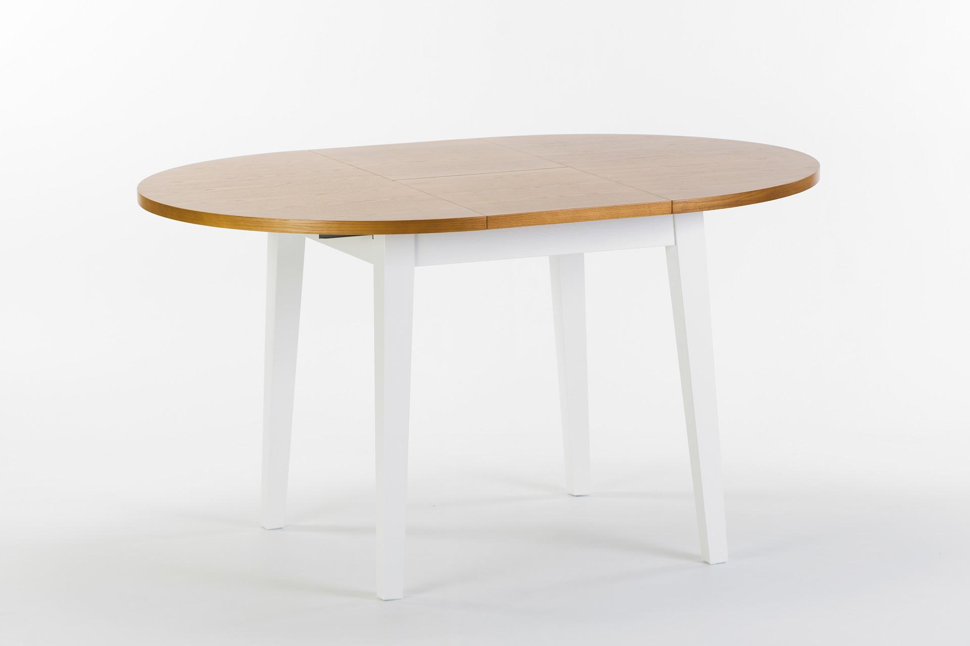 """Круглый кухонный стол """"Монтерей"""" - раскладная столешница покрыта шпоном ясеня, тонирована, цвет SE-7005. Ножки и царга из твердого дерева, покрыты белой эмалью, цвет RAL 9003. Разложенный"""