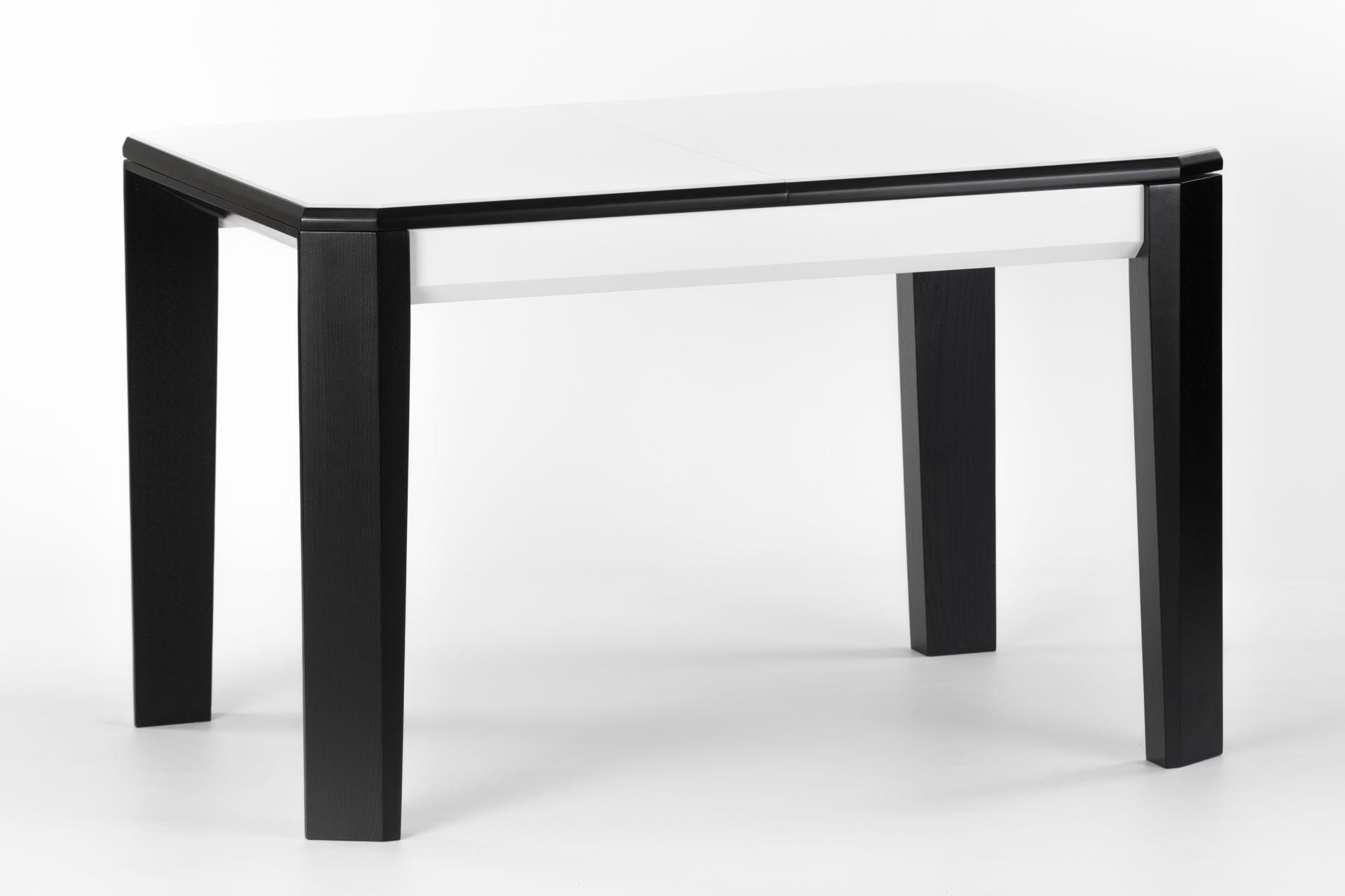 Деревянный кухонный стол Варгас, с черными ножками и белой столешницей со стеклом