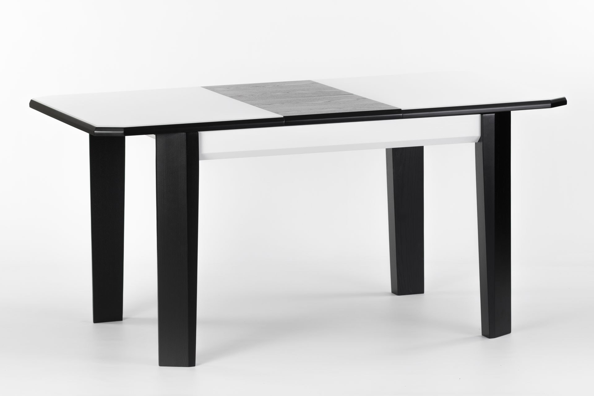 Деревянный кухонный стол Варгас, с черными ножками и белой столешницей со стеклом, разложенный