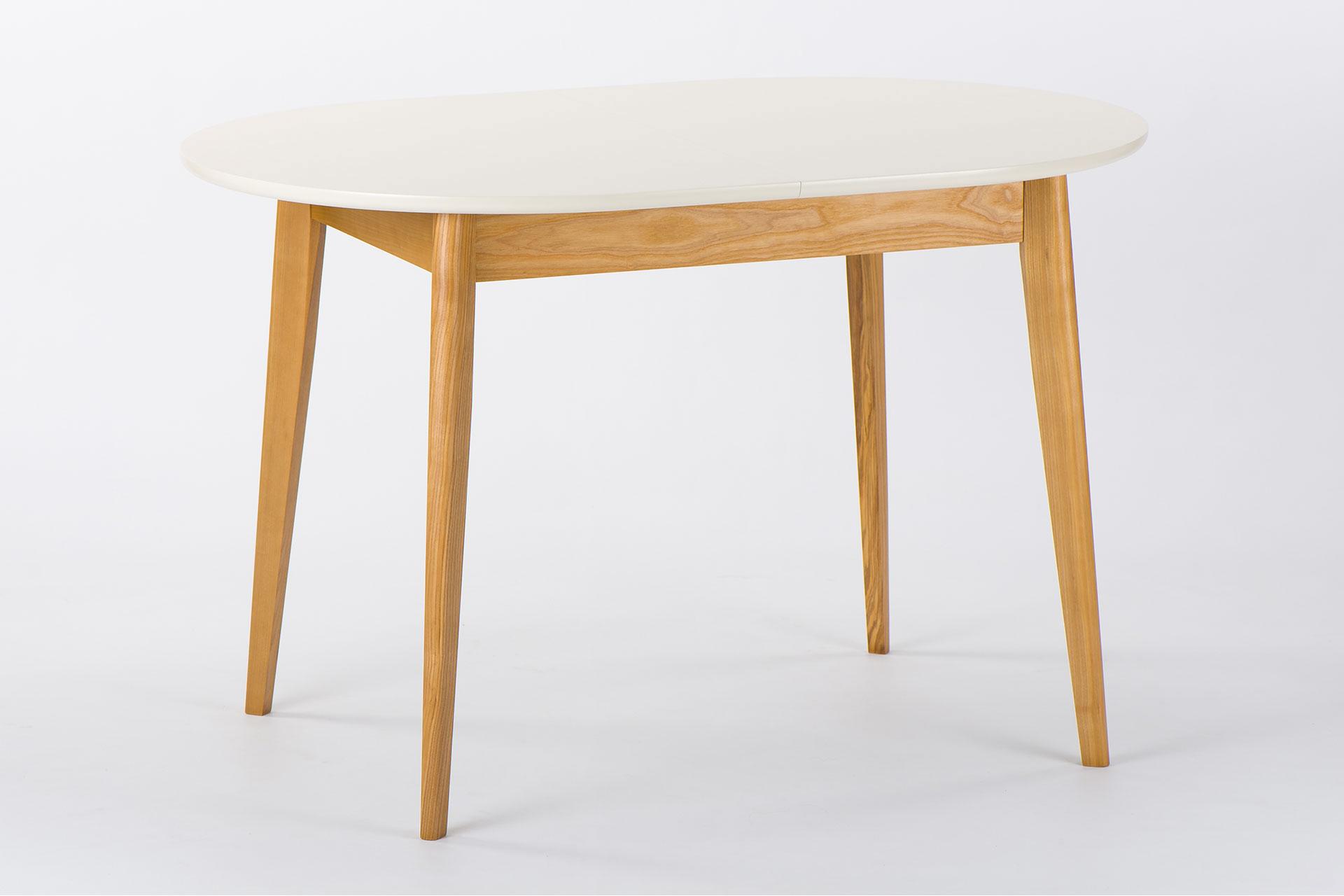 """Овальный стол """"Турин-обновленный"""" - раздвижная столешница покрыта бежевой эмалью и тонированными ножками"""