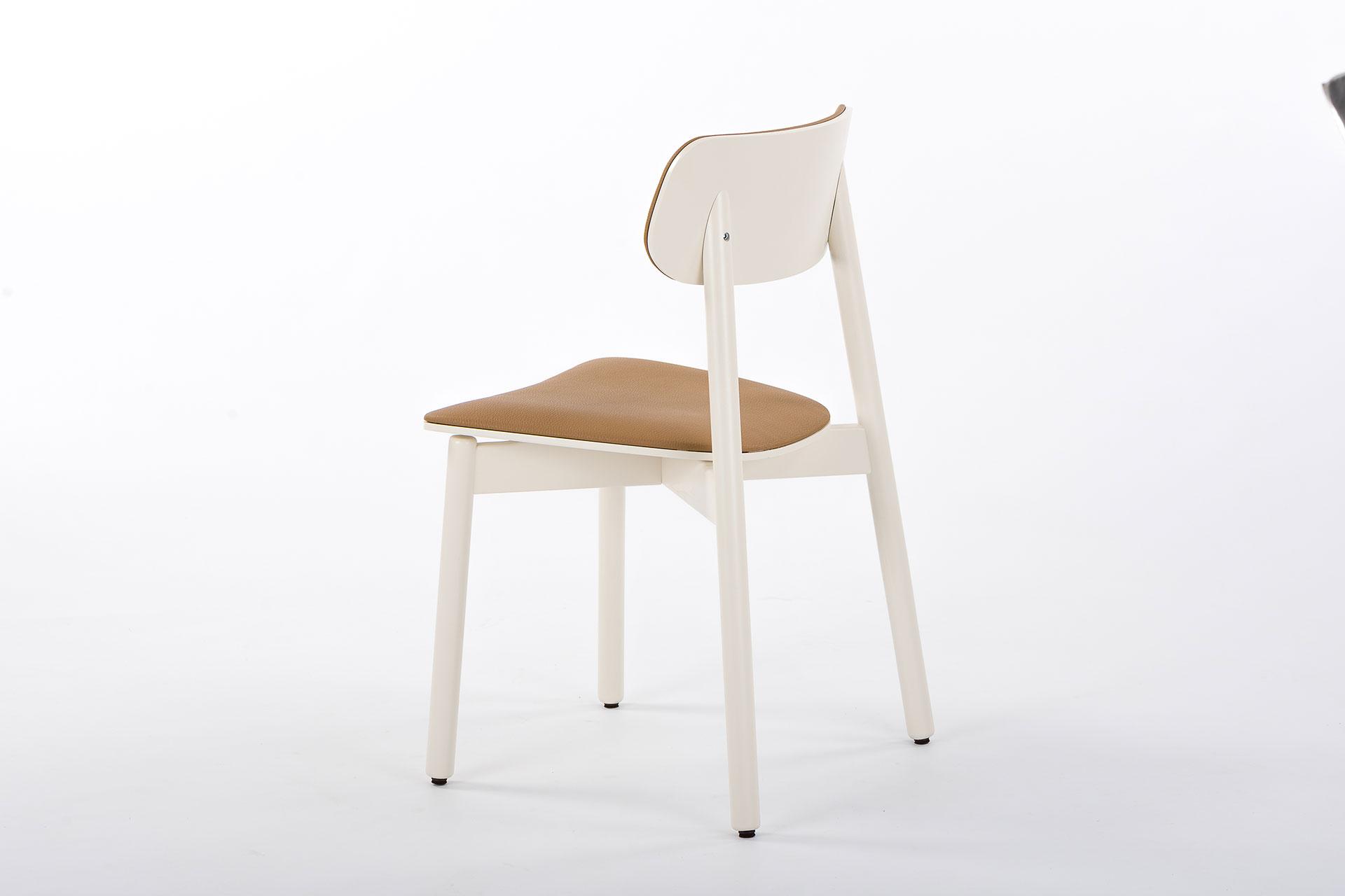 Стілець для кухні Х, дерев'яний з коричневим сидінням та спинкою і білими ніжками фото 2