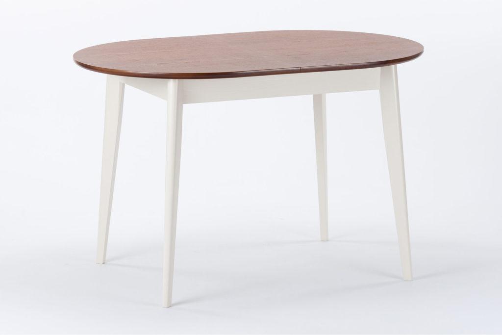 Стіл кухонний Турін з дерев'яною коричневою стільницею і білими ніжками
