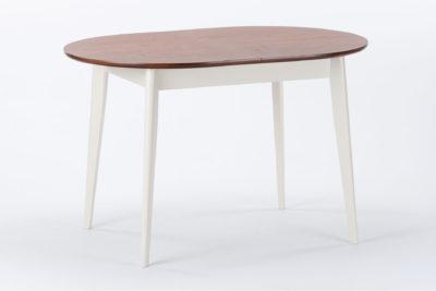Стол кухонный Турин с деревянной коричневой столешницей и с белыми ножками с дополнительной