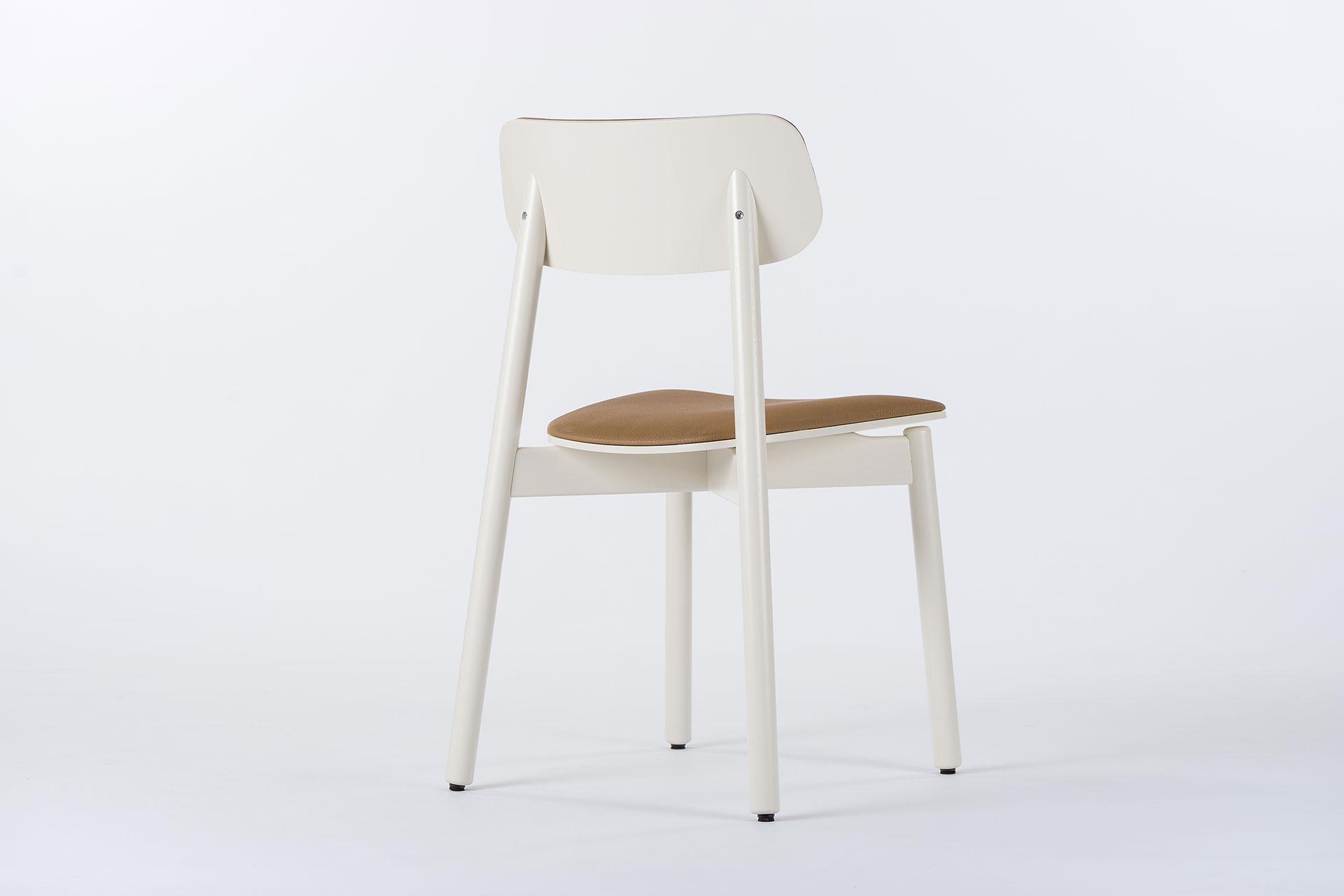 Стілець кухонний ІКС, дерев'яний з коричневим сидінням та спинкою і білими ніжками фото 3