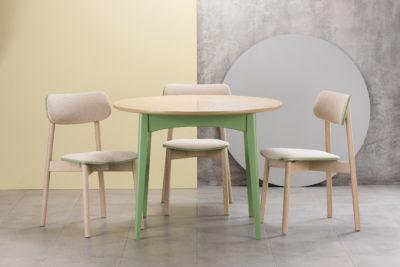 Кухонный комплект: круглый стол Венти зеленый с бежевой столешницей и стулья Х с бежевой сидушкой и спинкой