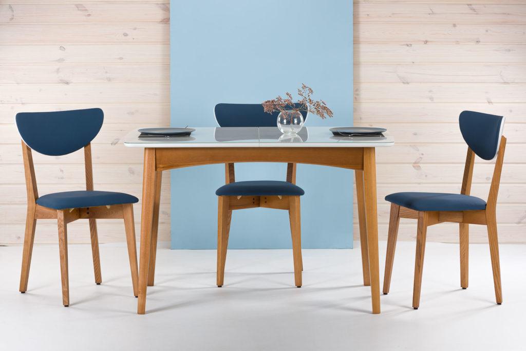 """Обеденная группа, кухонный комплект: раскладной стол """"Венти"""" с белой стеклянной столешницей + 4 стула """"model S"""" с мягкой оббивкой"""