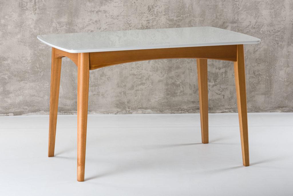 """Раскладной деревянный кухонный стол """"Венти"""" с белой стеклянной столешницей"""