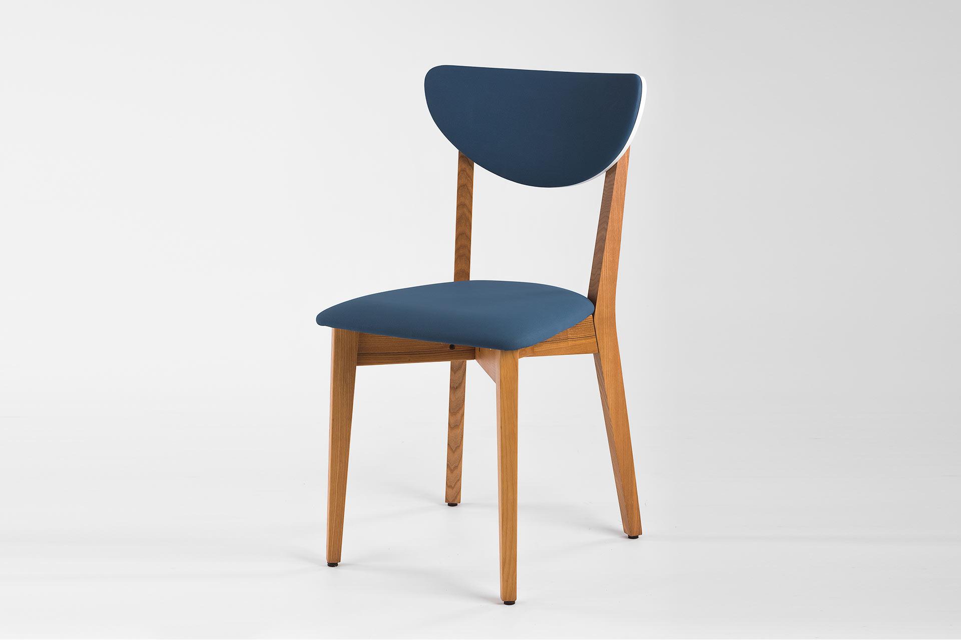 """Кухонний стілець """"Model S"""" з синьою м'якою оббивкою"""