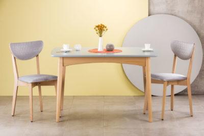 """Кухонный комплект: стол """"Венти"""" со шпонированной столешницей + 4 стула """"S"""" c мягкой оббивкой Apparel Monolith Honey 84 • OLEKSENKO Столы и Стулья •"""