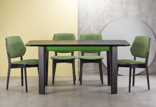 """Обідня група: розкладний кухонний стіл """"Варгас"""" чорно-зелений (стільниця шпон) з твердого дерева + 4 стільці 03В чорний каркас з м'якою зеленою спинкою та сидінням з штучної замші Exim Mustang Light Green"""
