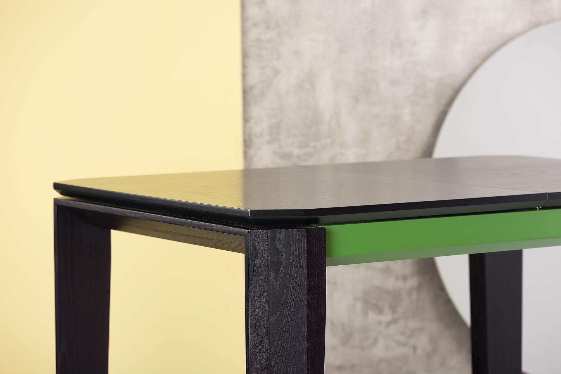"""Столешница кухонного стола """"Варгас"""" черно-зеленый (столешница шпонированная) с твердого"""