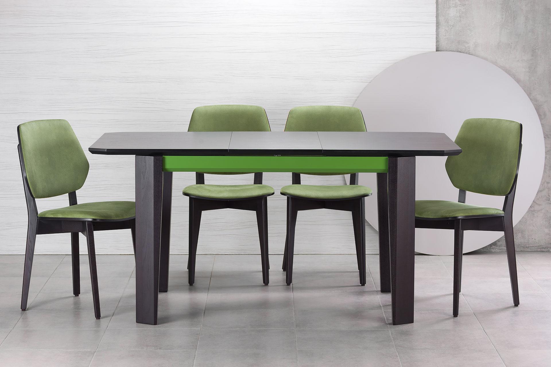 """Разложенный кухонный стол """"Варгас"""" черно-зеленый (столешница шпонированная) с твердого дерева и стул 03В, черный каркас с зеленой мягкой спинкой и сиденьем со штучной замши Exim Mustang Light Green"""