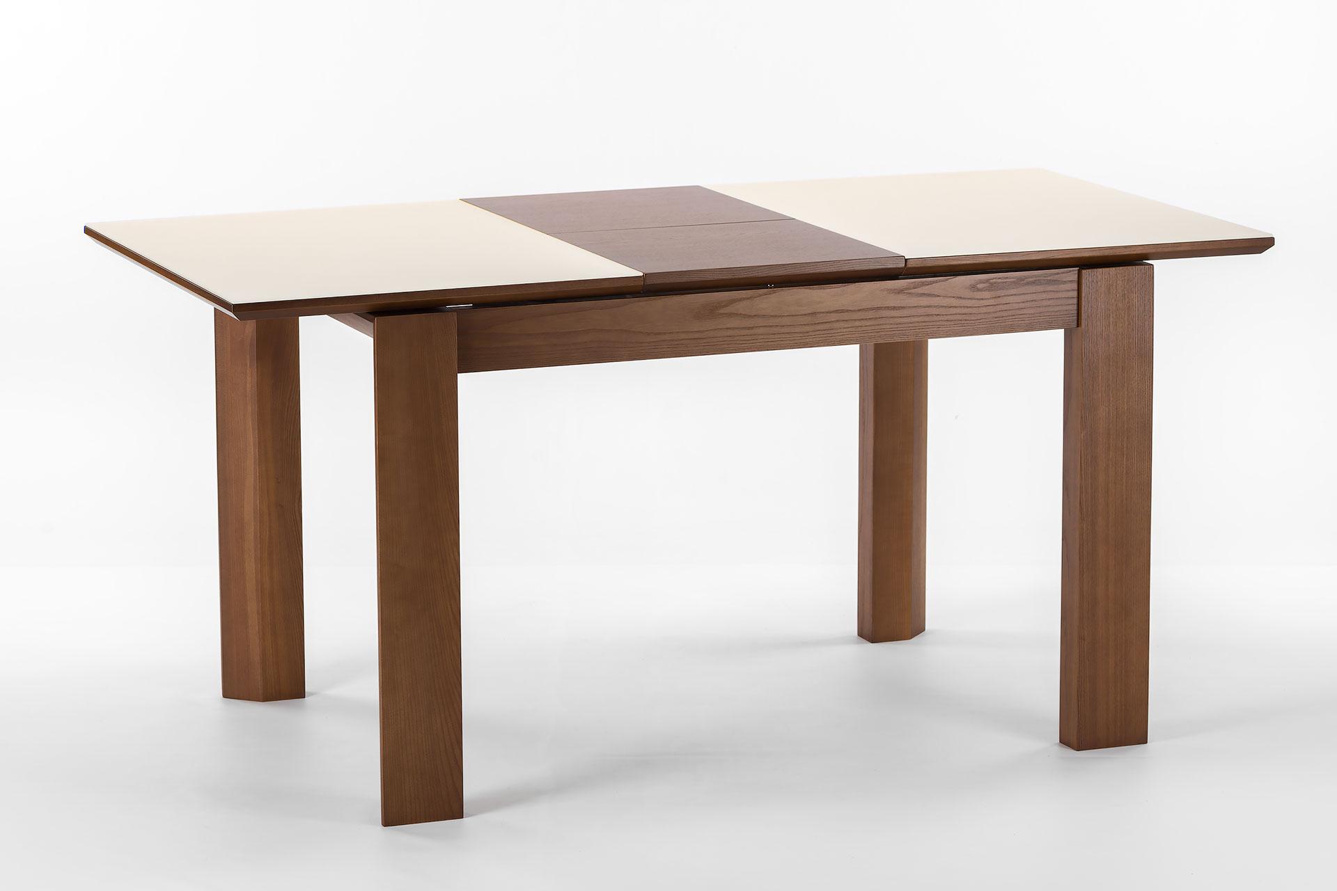"""Раскладной кухонный стол """"Милан-люкс"""", цвет SE7031, столешница с матовым стеклом. Разложенный"""