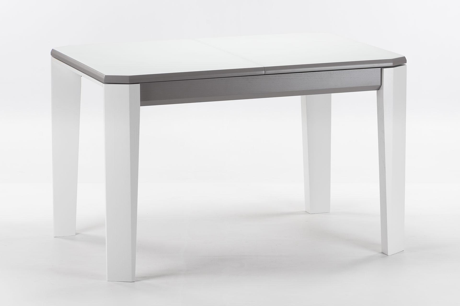 """Деревянный раскладной кухонный стол """"Варгас"""" с белой стеклянной столешницей и белыми ножками"""