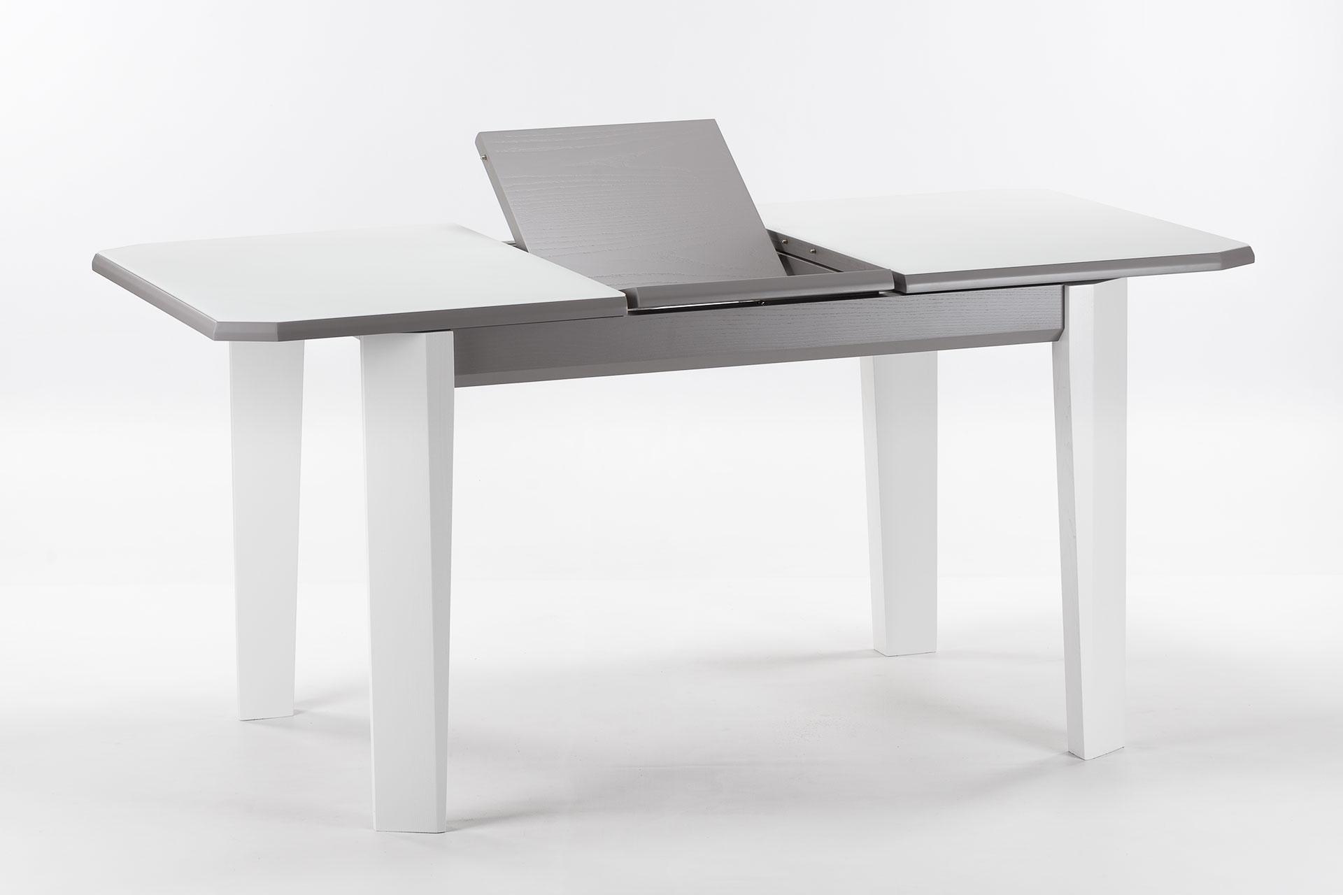 """Деревянный раскладной кухонный стол """"Варгас"""" с белой стеклянной столешницей, серой вставкой столешницы, белыми ножками, твердое дерево"""