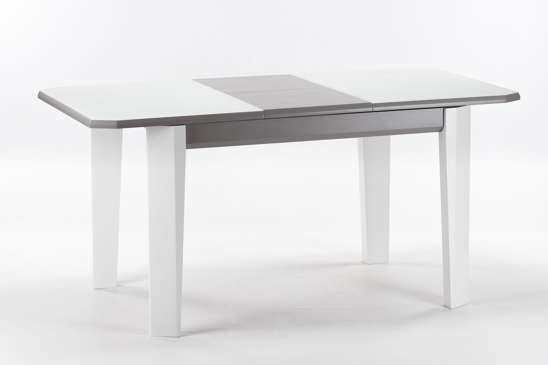 """Деревянный раскладной кухонный стол """"Варгас"""" с белой стеклянной столешницей, серой вставкой столешницы, белыми ножками, твердое дерево. Разложенный"""
