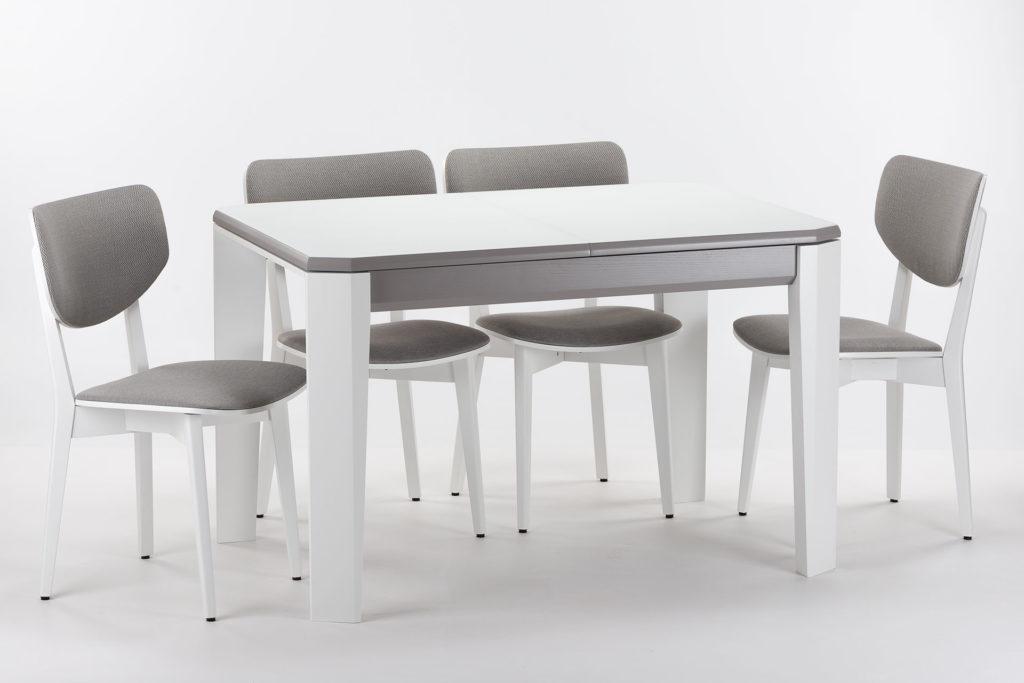 """Обідня група, кухонний комплект: розкладний стіл """"Варгас"""" з білою склянною стільницею + 4 стільця 03А з м'якою спинкою та сидінням Exim Siesta 90"""